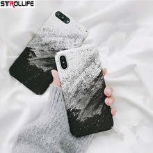 STROLLIFE Fashion Black White Art Gradient Phone Cases For iPhone 8 7 Plus 6 6S Coque Thin Matte Hard Shell Cover For iPhone X