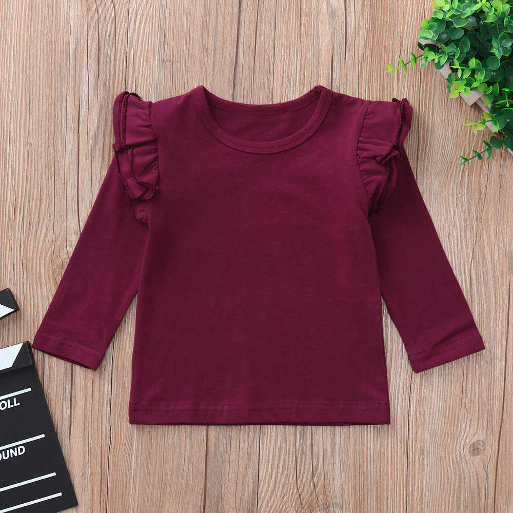 Toddler Baby Girls Autumn T Shirts Long Sleeve Ruffles Candy Color Tops Children Girl Casual Solid T Shirts Clothes 1030