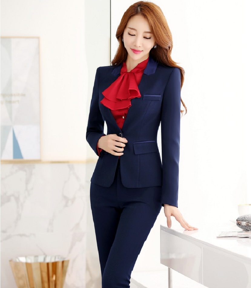 Formal Uniform Design Professional Office Work Wear Suits With Jackets And Pants Autumn Winter Female Pantsuits Trousers Set