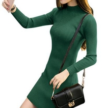 Women Sexy Bodycon Dresses 2016 Fashion Autumn Winter Black Package Hip Slim Sweater Dress Basic Long Sleeve Knitted Dress