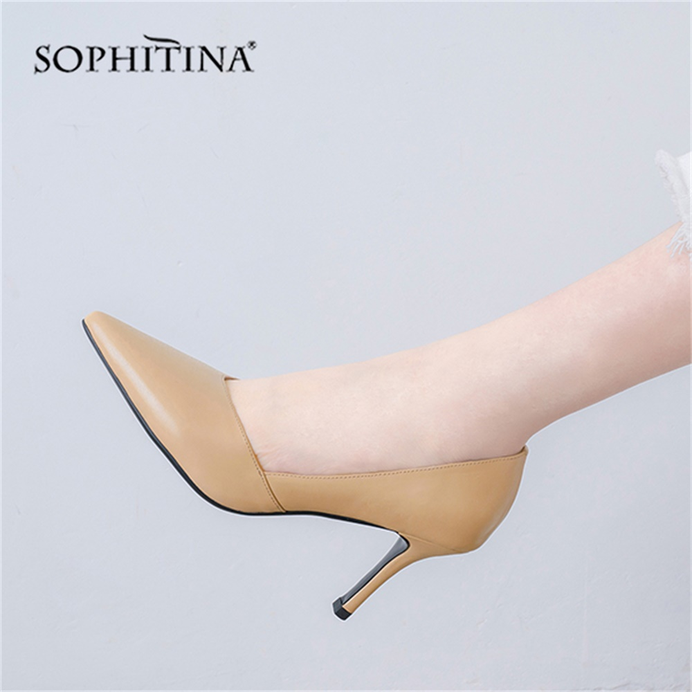 Señaló Alta Elegante Sophitina White Cuero Baja khaki Sexy Super Delgada Mujeres Fiesta Mo155 Toe De black Talones Calidad Zapatos Bombas Genuino 6Sgwdq8S