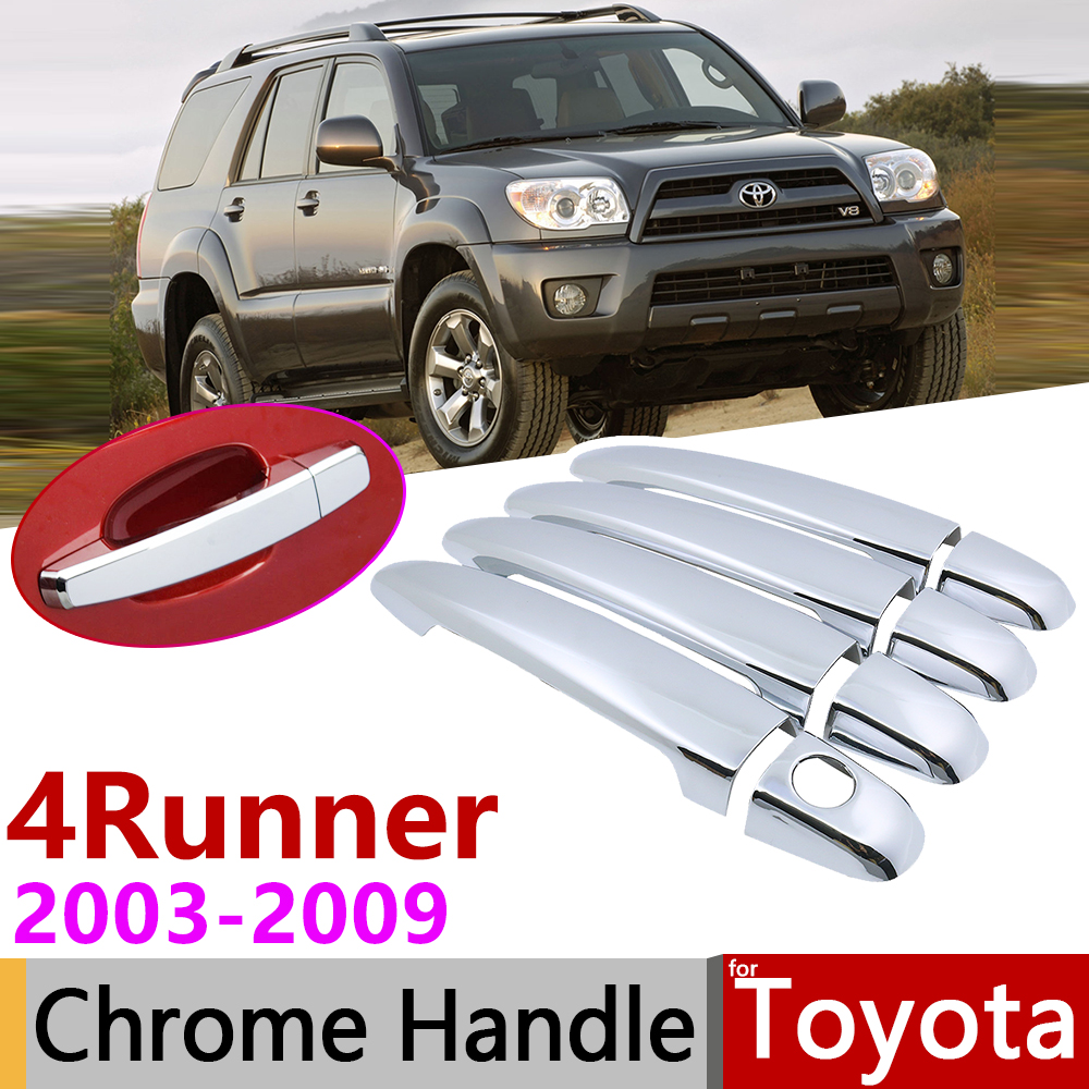 for <font><b>Toyota</b></font> <font><b>4Runner</b></font> Hilux Surf N210 2003~2009 Chrome Door Handle Cover Car Accessories Stickers Trim Set 2004 <font><b>2005</b></font> 2006 2007 2008 image