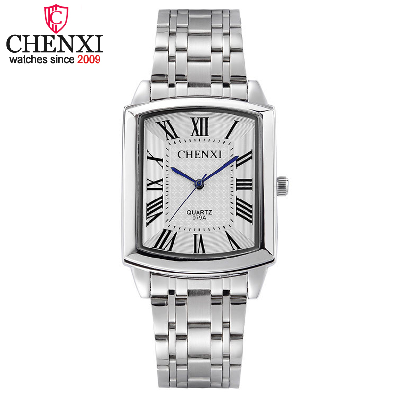CHENXI Brand Fashion Classic Hot Square Dial Couple Lovers Quartz Wristwatch Delicate Luxury Steel Strap Men Watch Women Watches