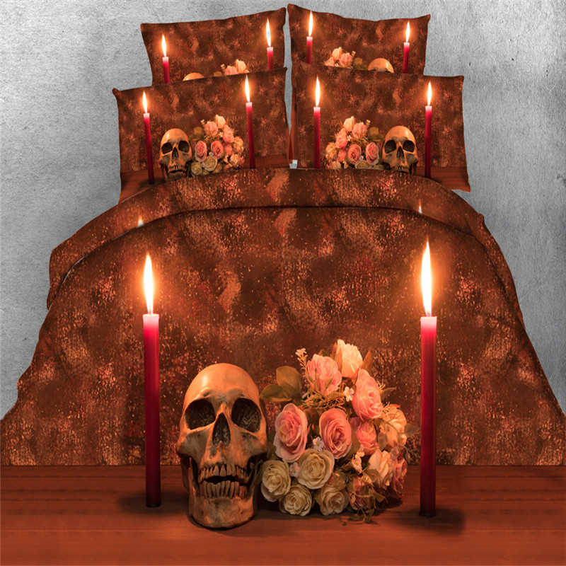 indian fire skull rose bedding sets twin queen king size bed linen 3/4pc 3d qulit cover 500tc pillowcase teens Boys bed in a bag