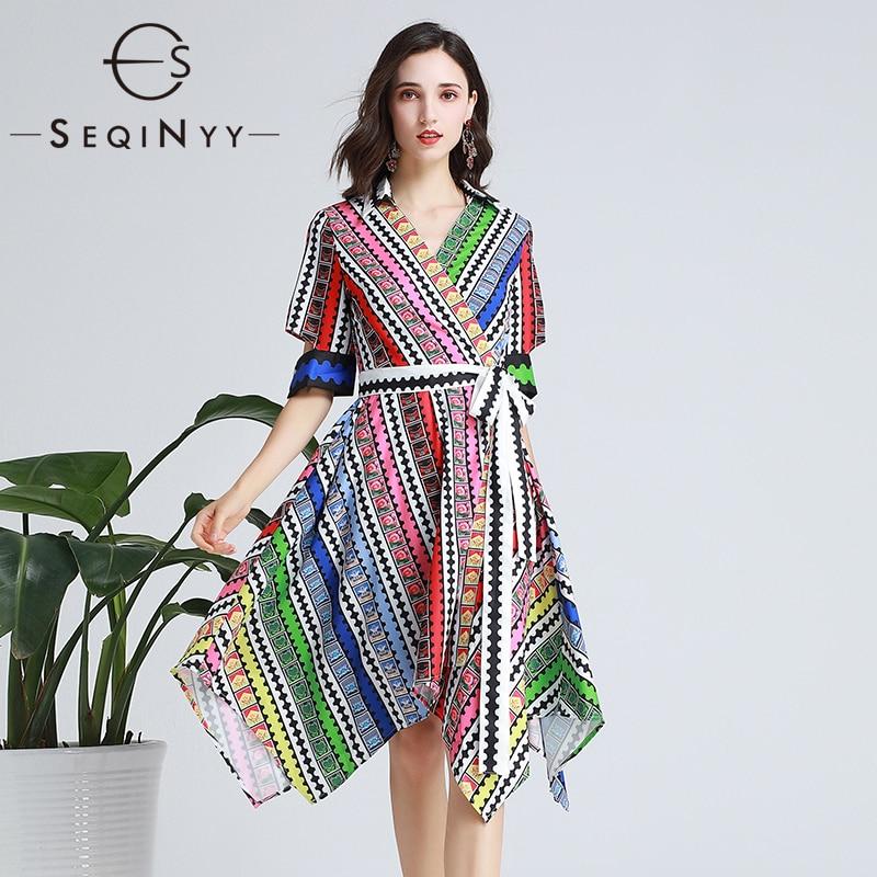 SEQINYY Fashion Dress 2019 Summer New Fashion Design Half Sleeve Colorful Flowers Plaid Printed Midi Dress