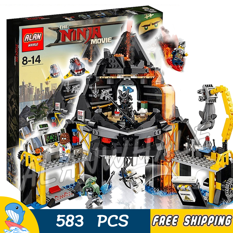 583pcs Ninja Movie Garmadon's Volcano Lair Base Fortress 10798 Model Building Blocks Assemble Toys Bricks Compatible With lego lepin 663pcs ninja killow vs samurai x mech oni chopper robots 06077 building blocks assemble toys bricks compatible with 70642