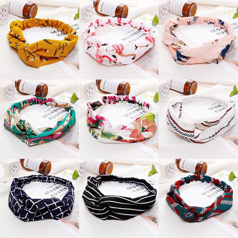2019 New Women Summer Cross Knot Print Headbands Girls Sweet Elastic Hair bands Soft Hairbands   Headwear   Fashion Hair Accessories