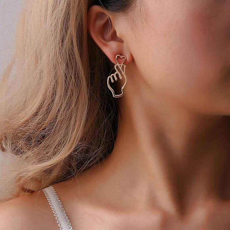 Personality Charming Alloy Gold/Silver Filled I LOVE YOU Gestures Dangle Earrings For Women boucles d'oreilles