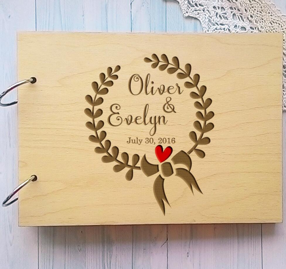 Wooden Personalized Wedding Guest Book Alternative Unique Wreath Wedding Guestbook,Custom Name Sign Book,Rustic Wedding Decor