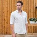 Lino blanco Camisa Casual Hombres Camisa de Manga Larga Slim Fit Sociales Llana Sólida de Algodón de Lujo