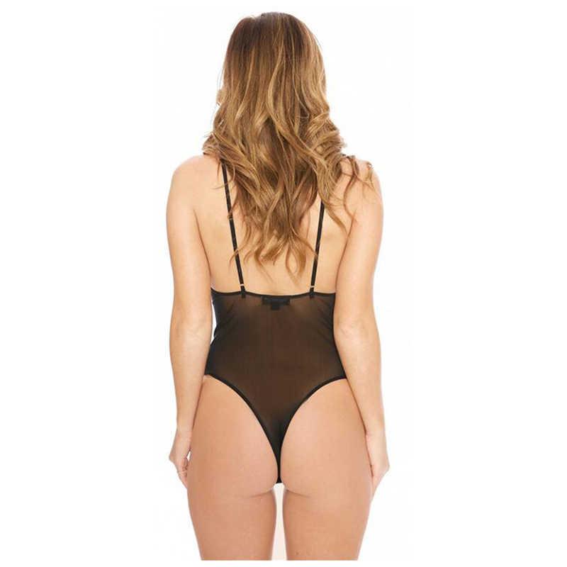 2019 ชุดบอดี้สูทเซ็กซี่หญิงโปร่งใสตาข่าย Bodysuit Rompers Clubwear Casual พื้นฐานฤดูร้อน Bodycon Jumpsuit Overalls