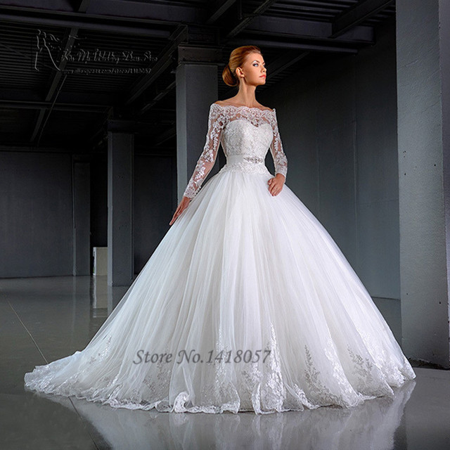 fc95d6c626d 2016 Design White Long Sleeve Wedding Dresses off Shoulder Lace Bridal Dress  Ball Gown Wedding Gown Vestido de Noiva Manga Longa