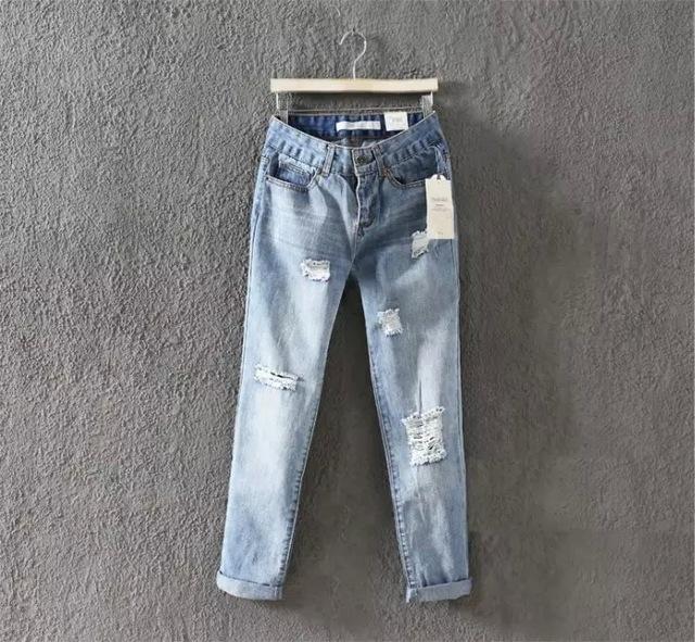 2016 New Arrival Roupas femininas Para O Outono Plus Size Buracos Calça Jeans Reta Calças Soltas Femininos Calças Jeans Do Vintage
