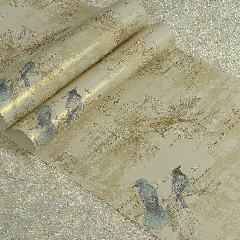Papier peint de chambre à coucher de Style américain pur papier peint Floral Vintage moderne rouleau de papier peint de fleur et d'herbe oiseau 10 M