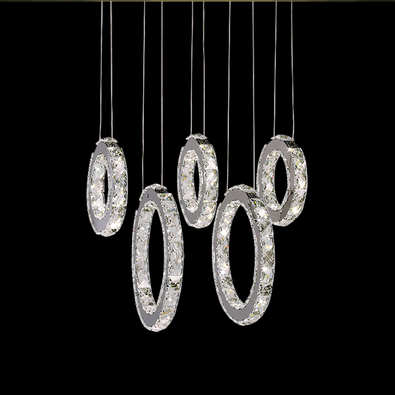 Modern Art 64W LED Round Crystal Pendant Light 5 Rings Hanging Lamp Lighting Fixtures For Bar Dinning Room Living Room 50CM P658 modern crystal lamp round shape led pendant light for bedroom living room lighting