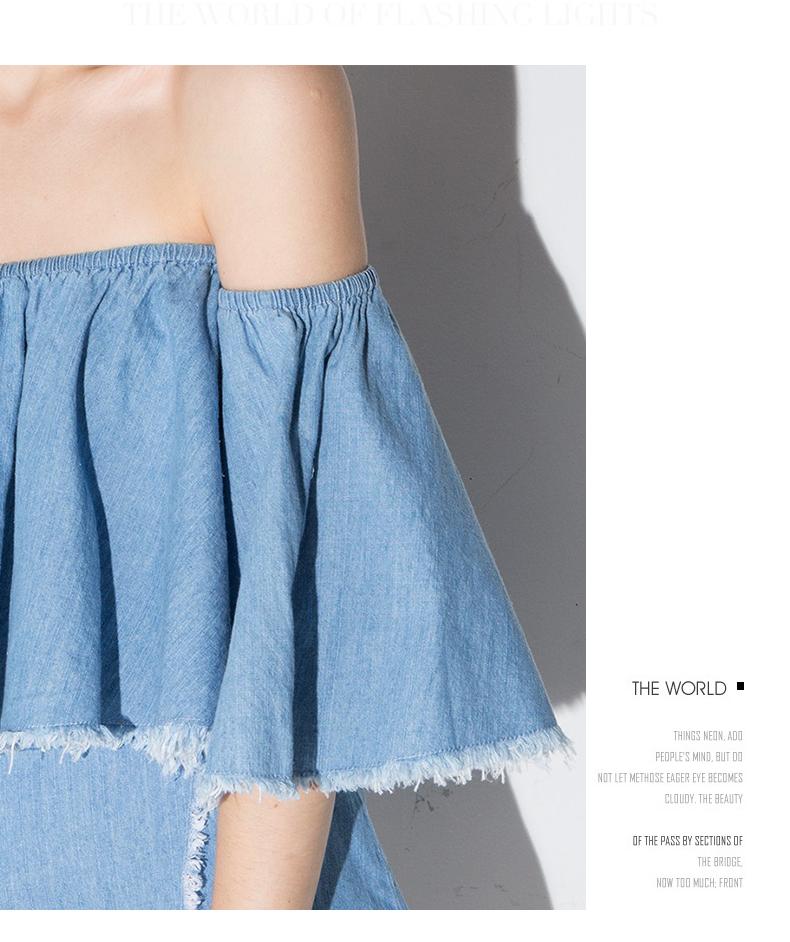 HTB1I.pdRXXXXXbfaXXXq6xXFXXXy - Slash-Neck Off Shoulder Tops Fashion Denim Shirts JKP190