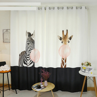Custom Made 2x Grommet Window Drapery Curtain Nursery Kids Children Room Window Dressing Tulle 200cmx260cm Zebra Giraffe Balloon