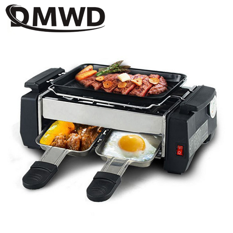 DMWD Smokeless Electric Raclette Grill 1000W Double Layers Non-Stick BBQ Roasting Pan Griddle Mini Barbecue Stove Machine EU US 1200w 220v non sticky family barbecue electric raclette grill smokeless grill raclette grill electric griddle