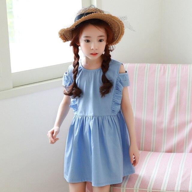 acca77713 Poco las niñas vestido de verano primavera 2018 nuevos volantes azul hombro  adolescente princesa Vestido de