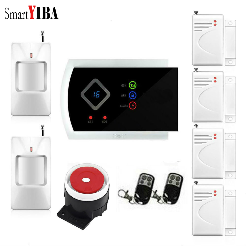 SmartYIBA Russian Spanish Italian French Voice Wireless GSM SMS Home Burglar Security Alarm System IOS Android APP Control smartyiba wireless gsm wifi home security burglar alarm system kit android ios app remote control french polish russian spanish