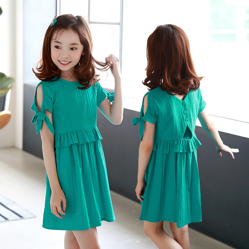 c86b884291b Ruffles Patchwork Little Big Girl Dresses Cotton Summer 2018 Green Princess  Mini Kids Dresses Designs Children