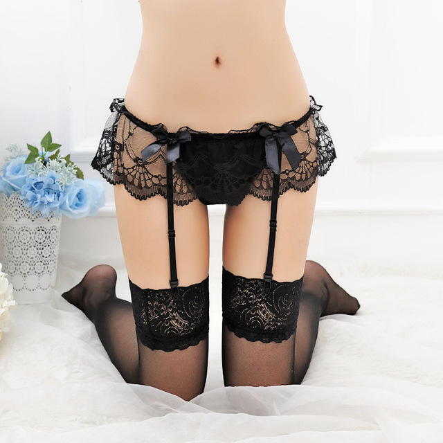 377c92c06c36e Sexy Women's Underwear Sheer Lace Top Thigh-Highs Stockings Lingerie Garter  Belt Suspender Set