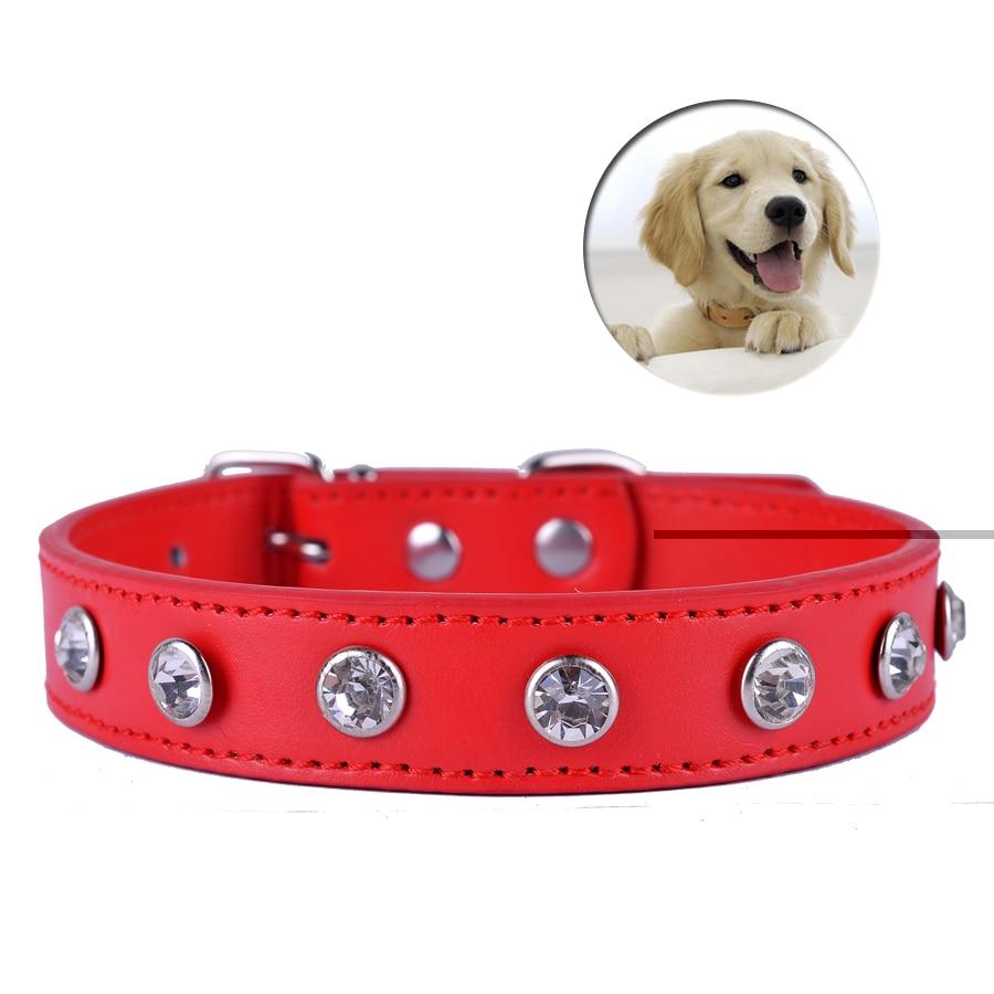 5Colors Pu 가죽 개 목걸이 개인화 된 한 줄 Rhinestones 액세서리 개 목걸이 유니버설 애완 동물 강아지 용품