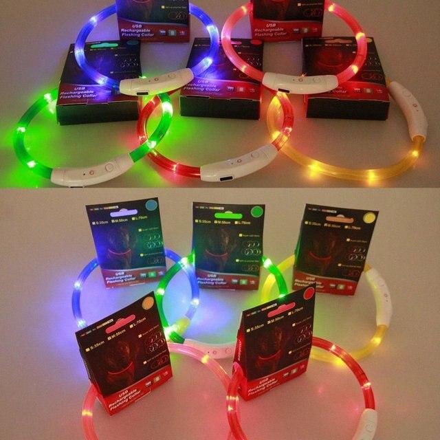 USB Practical Rechargeable LED Flashing Pet Dog Collar Light Band Safety Belt Led Lights Adjustable USB luminous Led Dog Collar