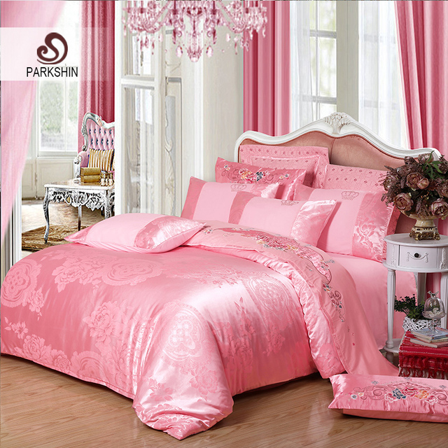 ParkShin Tibutle Silk Bedding Set Luxury Tencel Silk Duvet Cover Set Light  Pink Bed Linen 4pcs