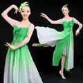 Nuevos Trajes de Danza Folclórica china Rhinestone Poética Jiangnan Loto Fan Yangko Danza Espectáculos de Danza Clásica de Lluvia Desgaste
