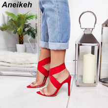 Aneikeh New Designer Brand Fashion Pointed Toe Open Thin High Heels Sandals Gladiator Bride Red Wedding Party Dress Shoes