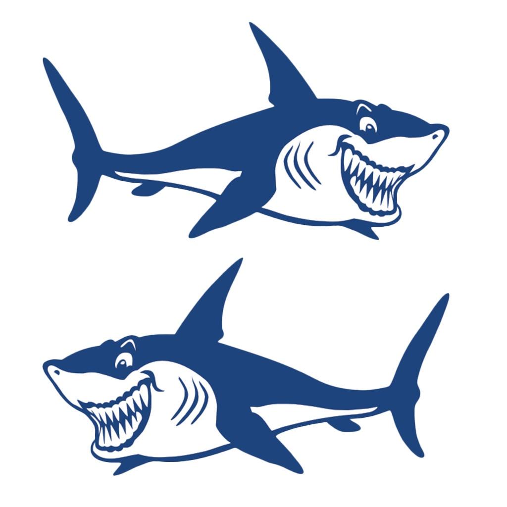 Marine 2 Pcs Car Styling Shark Vinyl Decals Stickers Kayak