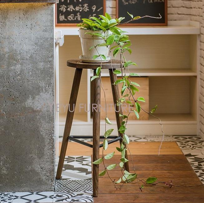 Minimalist Modern Design Wooden and Metal Loft style Bar Stool, fashion industrial loft counter stool, popular Steel bar chair