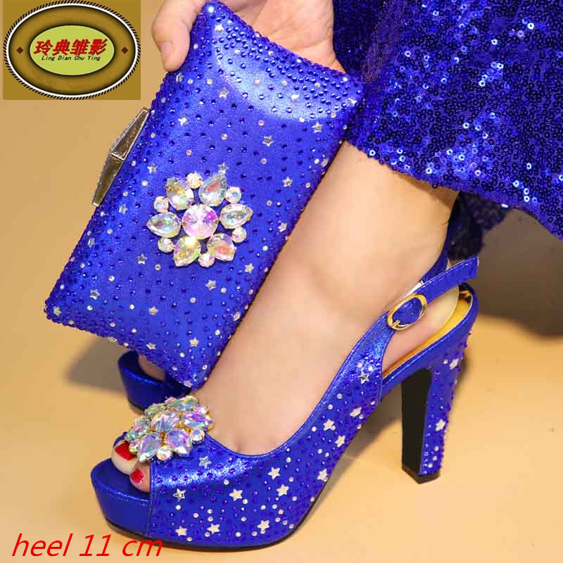991 Blue New African Wedding Evening Shoes And Bags Set High Quality European Ladies Shoes And Bags Sets With Stone g41 wonderful pattern european ladies shoes and bags sets with stone high quality women high heel with bag sets free shipping