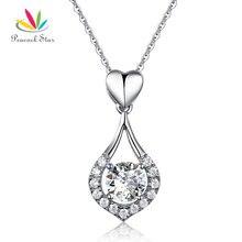 Pavo real Estrella Corazón de Lágrima Colgante de Collar de 925 Joyas De Plata Maciza CFN8059 Creado Diamante de dama de Honor de La Boda