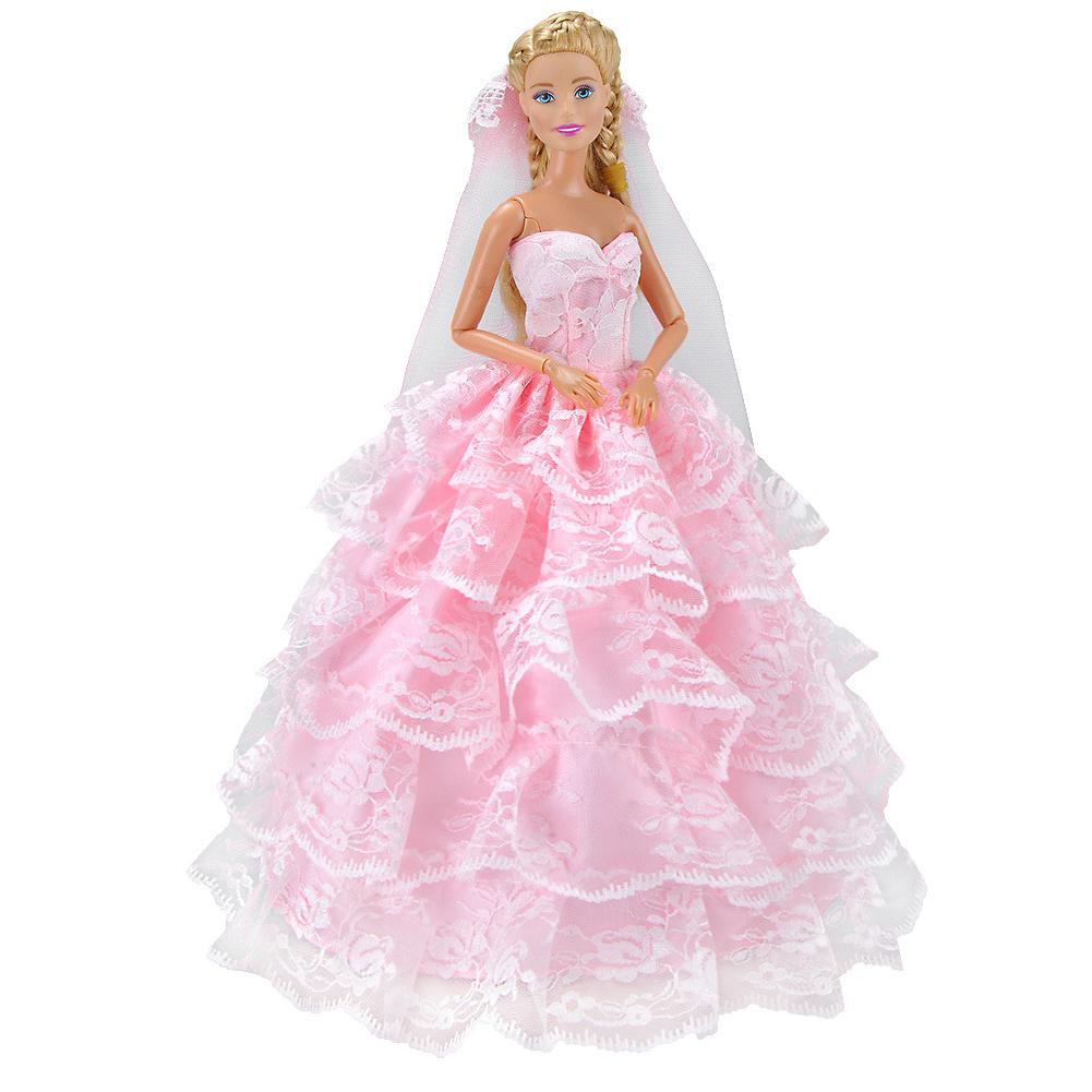LeadingStar Romantic Pink Five Layers Princess Dress Wedding Dress Simulate Skirt Dress 29CM for Barbie Doll leadingstar pink swing chair for barbie dolls