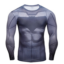 Batman Men Trainning Exercise T-Shirt Compression Sport 3D Printed Long Sleeve Fitness Running Gym Training Sports Clothing