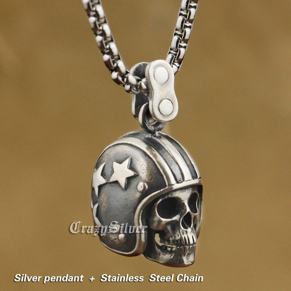 LINSION 925 argent Sterling casque de moto crâne hommes Biker Rock Punk pendentif TA19-in Pendentifs from Bijoux et Accessoires    1