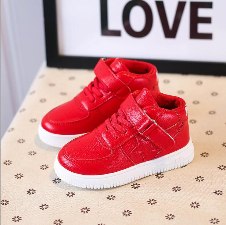 Children Shoes New Red Sneakers For Boy Autumn Winter Kids Running Sport Shoes Girls Hook Loop Baby Boys Sneaker