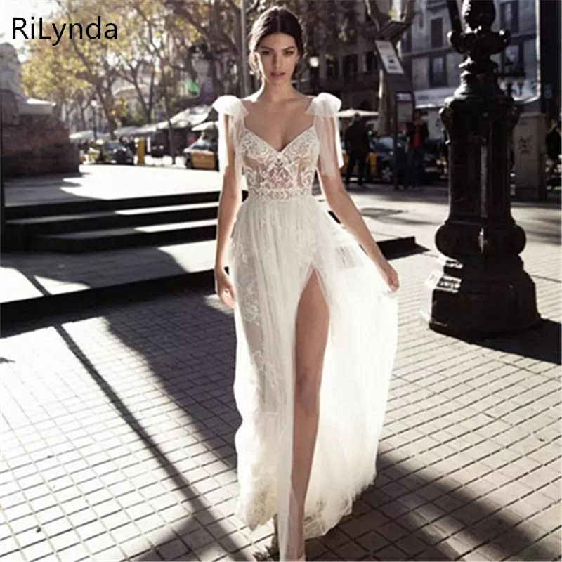 NEW High Slits Wedding Dresses Backless Bohemia Sexy Spaghetti Neckline Lace Appliqued Bridal Gowns Plus Size