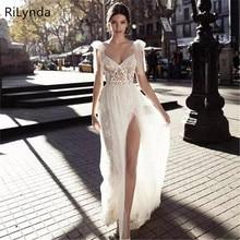 Nuevo rajas altas vestido de boda ses espalda descubierta bohemio Sexy escote espagueti encaje apliques vestidos de novia de talla grande vestido de boda