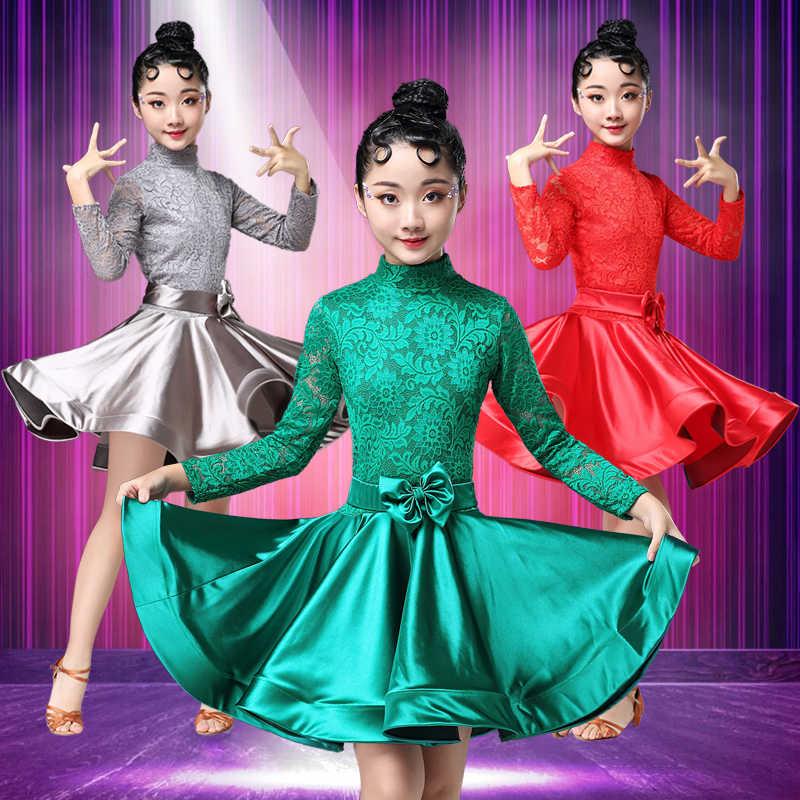 Костюмы для латинских танцев; Новинка; Детские костюмы для девочек; детское кружевное профессиональное платье для соревнований; юбка для танцев; сезон зима