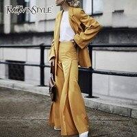 TWOTWINSTYLE Для женщин костюмы комплект из двух предметов с длинным рукавом Однобортный Блейзер Пальто Высокая талия Нерегулярные брюк моды при