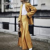 TWOTWINSTYLE женские костюмы комплект из двух предметов с длинным рукавом однобортный Блейзер Пальто Высокая талия нестандартные Брюки Мода Tide