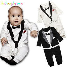 babzapleume Brand Autumn Newborn Baby Boys Romper Gentleman Style Long Sleeve Cotton Infant Jumpsuit Toddler Boy Clothing BC1216