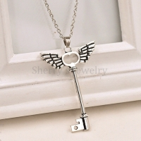 10pcs Antique Silver Plated Angle Wings Cross Key Pendant Necklace Jewelry For Girls And Women