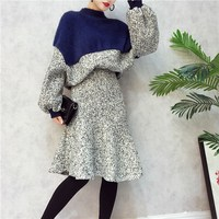 Winter 2 Piece Set Ladies Office Wear New Lantern Sleeve Color Hit Pullovers Fishtail Skirt Suits