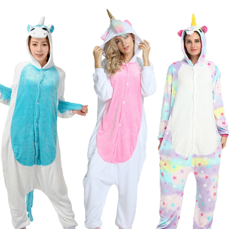 PSEEWE Unicorn   Pajamas     Sets   Flannel Sleepwear Women Cute Cartoon Animal   Pajamas   Winter Super Soft Stitch Pikachu Totoro Onesie