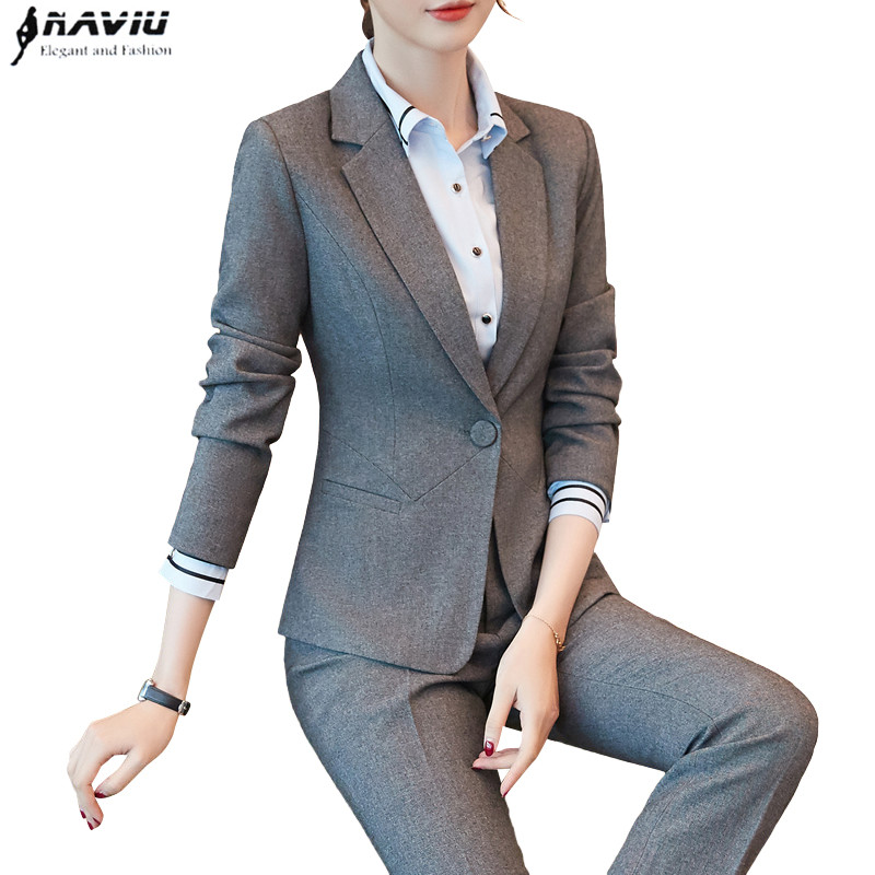 2018 New Fashion women pant suits formal Business Slim blazer and Trouser office ladies plus size