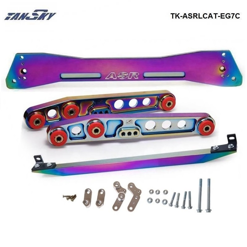 TANSKY -Neochrome Rear Subframe Brace +TIE BAR+ Rear Lower Control Arm For Honda Civic EG TK-ASRLCAT-EG7C kingsun rear adjustable ball joint camber control suspension arm kit for 1990 1997 honda accord acura cl tl1996 1999 blue